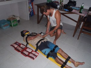 Medical student Clive Price doing some recus training